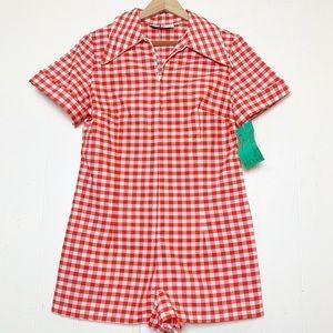 Vintage Red & White Gingham Zip-Up Romper